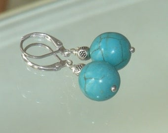 Blue turquoise sterling silver earrings, dangle earrings, natural stone, gift idea, hand-wired, dangle, handmade