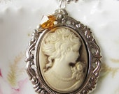 Cameo necklace, brown, gift for her, women, victorian cameo, romantic jewelry, sieraden, camee ketting