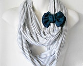 Gray and White Striped Infinity Scarf with Navy Blue Off-Center Bow