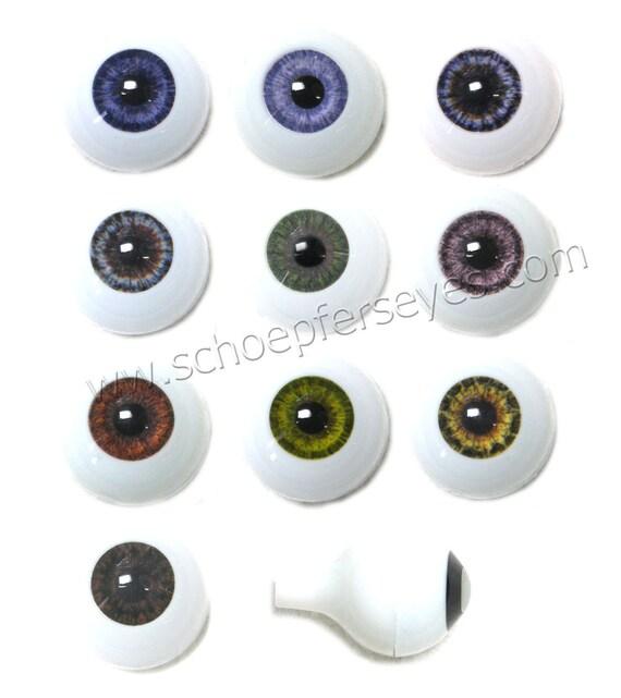 20mm Glastic Realistic Acrylic Doll Eyes - One Pair