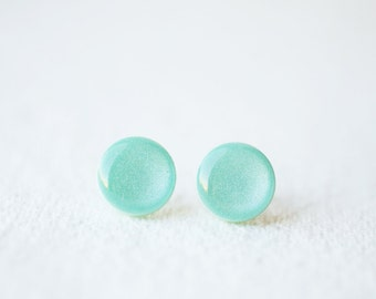 Mint Shimmering Stud Earrings - BUY 2 GET 1 FREE