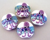 4 octopus lampwork glass beads, ocean pattern, lentil shape