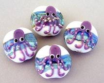 4 octopus lampwork glass beads, ocean pattern, lentil shape