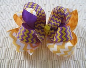 2538 LSU purple and gold double boutique bow