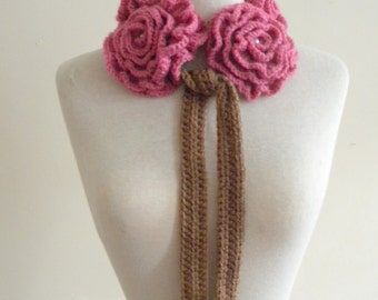 Crochet five crochet antique pink  roses lariat scarf