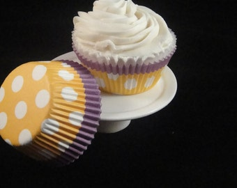 Yellow and Purple with Polka Dots Cupcake Liners