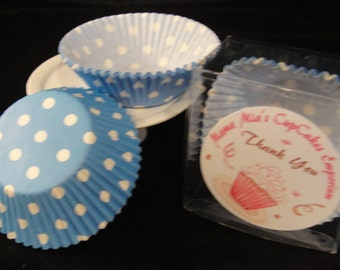 Blue with Medium White Polka Dots Cupcake Liners