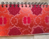 Red Metallic notebook recycled mini journal eco friendly jotter back to school art travel journal doodle pad spiral bound flocked floral