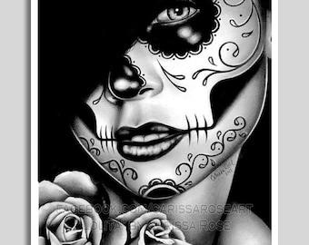 18x24 in Art Print - Lolita - Black and White Day of the Dead Sugar Skull Girl Poster
