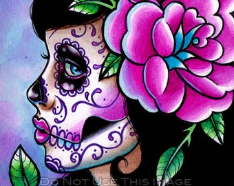 10 PERCENT OFF Sugar Skull Girl Signed Limited Edition Art Print - Isabella - Day of the Dead Tattoo Illustration Flash - 19 of 25 - 8x10 in