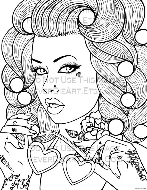 Digital Download Print Your Own Coloring Book Outline Page Printable Pin Up Coloring Pages Free