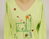 Hand Painted 100% Cotton Sweater  'ALL NATURAL' Floral Bug Bird design on Spring Green Sweater