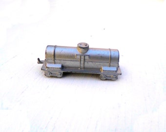 1950s Midge Toy Train Tank, Silver Midge Toy Train Tank, Mid Century Die Cast Metal Train