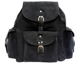Leather Backpack Book Bag - Charcoal Black, Distressed, Rugged