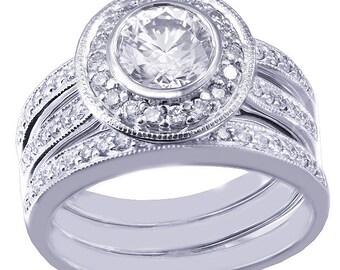 14k white gold round diamond engagement ring & bands bezel set 1.70ctw