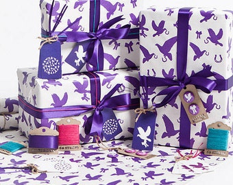 Recycled Love Birds Violet Gift Wrap