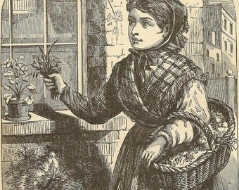 Antique Engraving - Mary the Groundsel Girl -  Original Bookplate from 1881 Chatterbox Unique Home Decor Frameable Antique Print