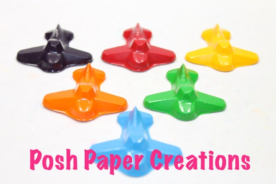 8 Airplane crayons - in cello bag tied with ribbon - choose your colors