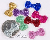 23mm 16/24/50 Pieces Rhinestone Sparkle Bow Bows Flatback Resin Cabochons - Choose Your Colors