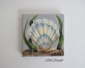 Scallop Shell Painting,  Miniature Original Painting, 3 x 3 inches, 76.2 x 76.2 mm, Acrylic Original Painting, Shell Home Decor Art
