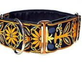 Martingale Collar: Navy and Yellow Pinwheel Jacquard - 2 Inch, Greyhound Collar, Martingale Dog Collar, Custom Dog Collar, Whippet Collar