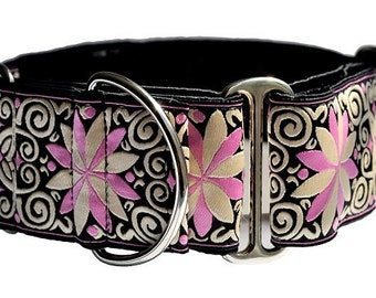 Martingale Collar: Pink and Black Arabesque Jacquard (2 Inch), Greyhound Collar, Dog Collar, Custom Dog Collars