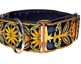 Martingale Collar or Buckle Dog Collar - Pinwheel Jacquard in Navy & Yellow - 2 Inch, Greyhound Collar,  GreatDane Collar, Custom Dog Collar