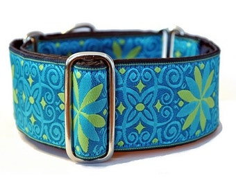 Martingale Collar: Turquoise and Lime Arabesque - 2 Inch, Greyhound Collar, Martingale Dog Collar, Custom Dog Collar, Whippet Collarlim