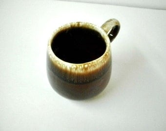 Vintage Pottery Cup Mug, McCoy 7025 USA, Coffee Cup Mug, USA Pottery Brown Drip