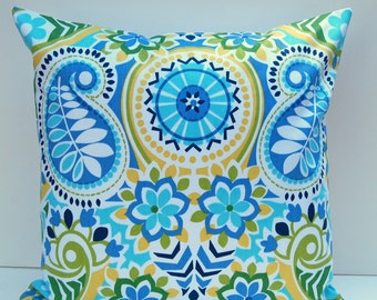 Floral Paisley Pillow Cover, Aqua Yellow and Blue Throw Pillow, Blue Floral Pillow, 18x18 Inch Cushion