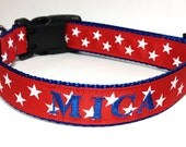 Personalized Dog Collar with name and phone - Patriotic Dog Collar - 1 inch wide