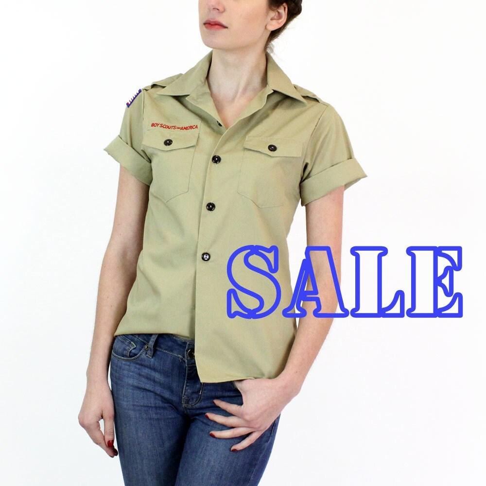 Boy Scouts Shirt S Khaki Button Down Boys Top