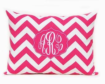 Monogrammed Pillow Framed Applique Chevron Personalized Home Decor 12 x 16 Baby Gift Dorm Decor Pink Chevron Yellow Chevron