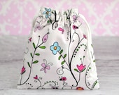 Reusable Drawstring Bag-for Toys, Gifts, Crafting or Storage in Heidi Grace Reagan's Closet Floral Vine