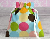 SMALL Reusable Drawstring Bag-for Toys, Gifts, Crafting or Storage in Multi Colored Polka Dots