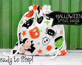 HALLOWEEN Trick or Treat Candy or Party Favor Bag in White Boo Scatter from Boo to You by Riley Blake Designs