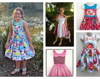 Ainslee Fox Disco Party Dress - size 1 to 12 years Girls Dress PDF instant download sewing pattern zip or button back options belt tutorial