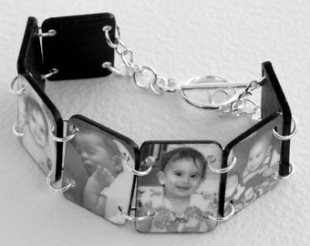 Waterproof Custom Photo Bracelet (BW)--FREE Gift Wrapping Included