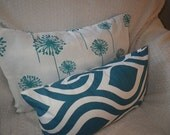 Dandelion Print, Turquoise and White, Lumbar Pillow Cover, 12x20, Ready to Ship, by Sew Custom Designs