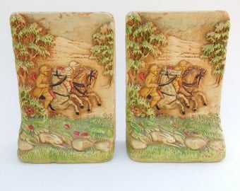 Midcentury Syroco Wood Bookends Horses Riders Rabbit Hunting