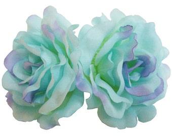 Blue Silk Rose flower Barrette Hair Clip