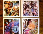 The Brown and Orange Set of Four Art Greetings Cards