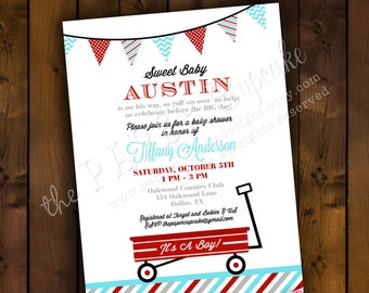 Printable Baby Shower Invitation Design - Retro Little Red Wagon Theme