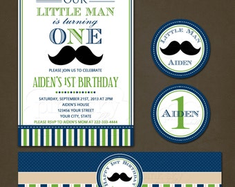 Little Man Blue and Green Birthday Party Package Printable