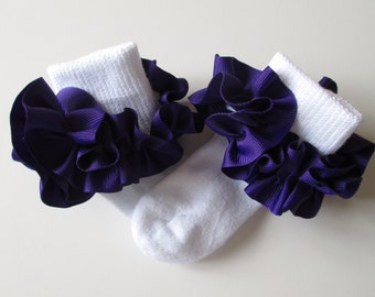Purple  Ruffled Ribbon Socks