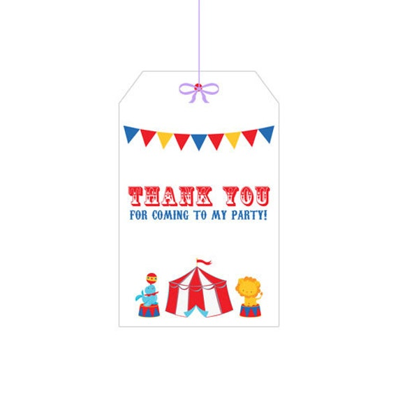 PRINTABLE Circus Party Hang Tags - INSTANT DOWNLOAD