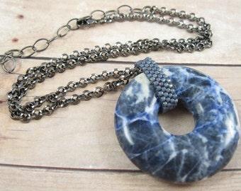 Sodalite Donut Necklace - Gun Metal Chain - FREE SHIPPING