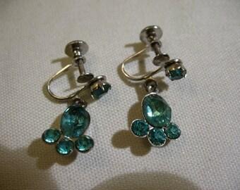 Vintage CORO Screwback Earrings with Blue Rhinestones