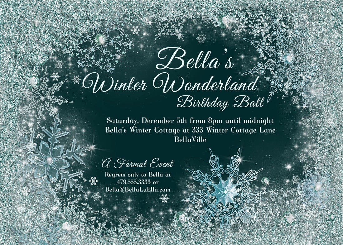 Winter Wonderland Party Winter Snowflake Ball Invitation