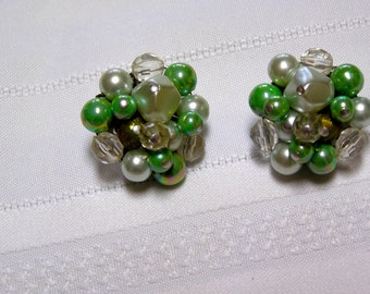 Vintage Japan mint green beads..Pearl beads.  Crystal beads..Clip earrings